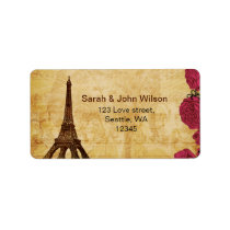 Pink vintage eiffel tower Paris address labels