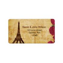 Pink vintage eiffel tower Paris address labels