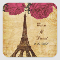 Pink vintage eiffel tower Paris envelopes seals