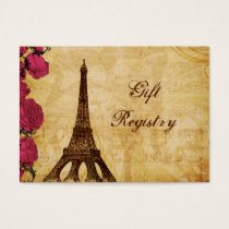 Pink vintage eiffel tower Paris Gift registry Business Card