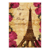 Pink vintage eiffel tower Paris save the date Card