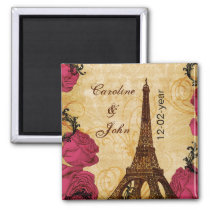 Pink vintage eiffel tower Paris save the date Magnet