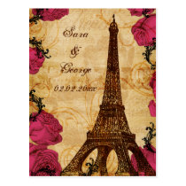 Pink vintage eiffel tower Paris save the date Postcard