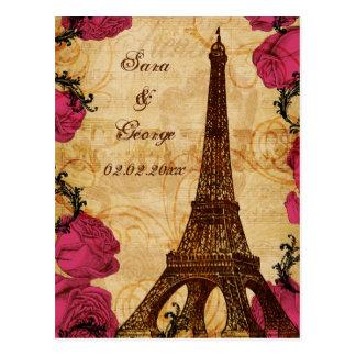 Pink vintage eiffel tower Paris save the date Postcard