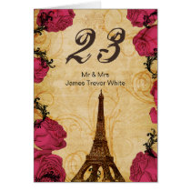 Pink vintage eiffel tower Paris Table Numbers