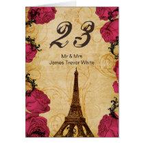Pink vintage eiffel tower Paris Table Numbers Card