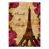 Pink vintage eiffel tower Paris thank you Card