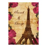 Pink vintage eiffel tower Paris thank you Invitation