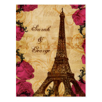 Pink vintage eiffel tower Paris thank you Postcard