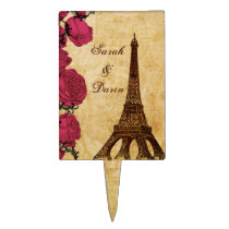 Pink vintage eiffel tower Paris wedding cake picks
