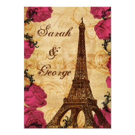 Pink Vintage Eiffel Tower Paris  Wedding Invitations