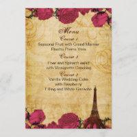 Pink vintage eiffel tower Paris wedding menu cards