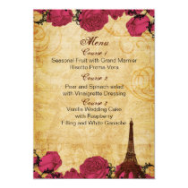 Pink vintage eiffel tower Paris wedding menu cards
