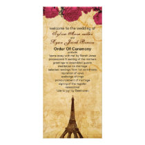 Pink vintage eiffel tower Paris wedding program