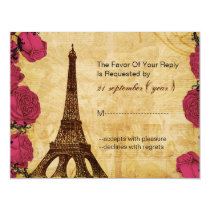 Pink vintage eiffel tower Paris wedding rsvp Card