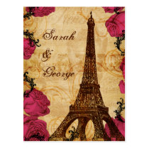Pink vintage eiffel tower Paris wedding rsvp Postcard