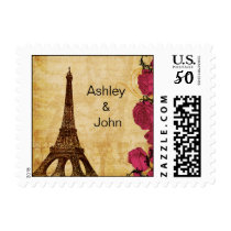 Pink vintage eiffel tower Paris wedding stamps