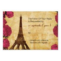 Pink vintage eiffel tower wedding rsvp 3.5 x 5 card