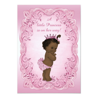 Pink Vintage Ethnic Princess Baby Shower 5x7 Paper Invitation Card