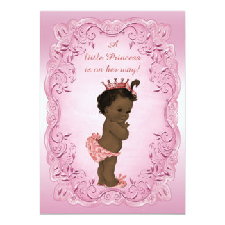 "Pink Vintage Ethnic Princess Baby Shower 5"" X 7"" Invitation Card"