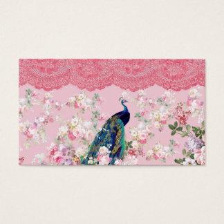 Pink vintage floral elegant lace colorful peacock business card