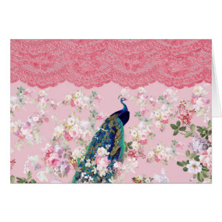 Pink vintage floral elegant lace colorful peacock card