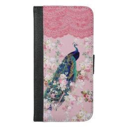 Pink vintage floral elegant lace colorful peacock iPhone 6/6s plus wallet case