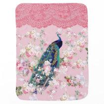 Pink vintage floral elegant lace colorful peacock swaddle blanket