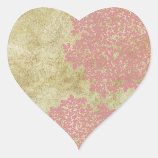 Pink Vintage Floral Envelope Seal Heart Sticker