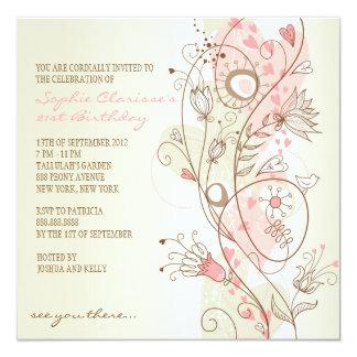 Pink Vintage Floral Feminine Birthday Invitations