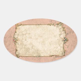 Pink Vintage floral frame Oval Sticker