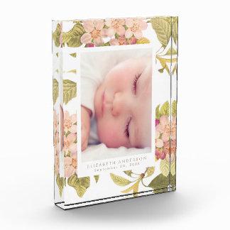 Pink Vintage Floral Photo Block Frame