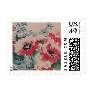 Pink Vintage Floral Wallpaper Small Postage Stamps