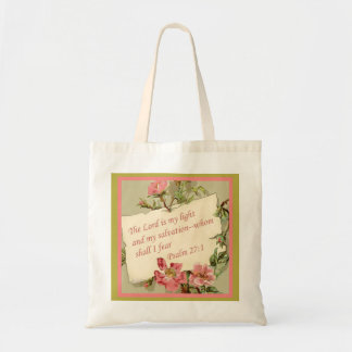 Pink Vintage Flower Bible Verse Tote Bag