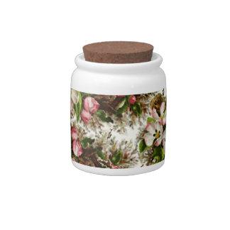 Pink Vintage Flower Bouquets Candy Jar
