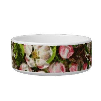 Pink Vintage Flower Bouquets Cat Food Bowl