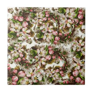 Pink Vintage Flower Bouquets Tile