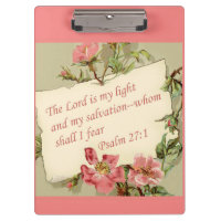 Pink Vintage Flowers and Bible Verse Clipboard