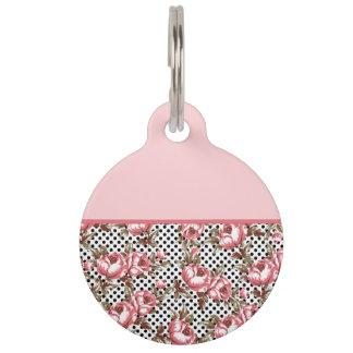 Pink Vintage Flowers and Black Polka Dots Pet Tag