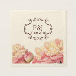 pink vintage flowers chandelier spring wedding disposable napkins