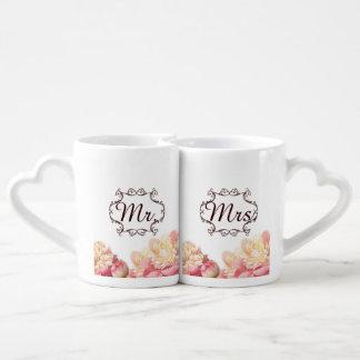 pink vintage flowers mr and mrs spring wedding couples coffee mug
