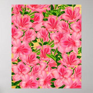 Pink Vintage Flowers Poster