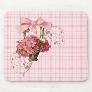 Pink Vintage Forget-Me-Not Basket ~Big Pink Bow Mouse Pad