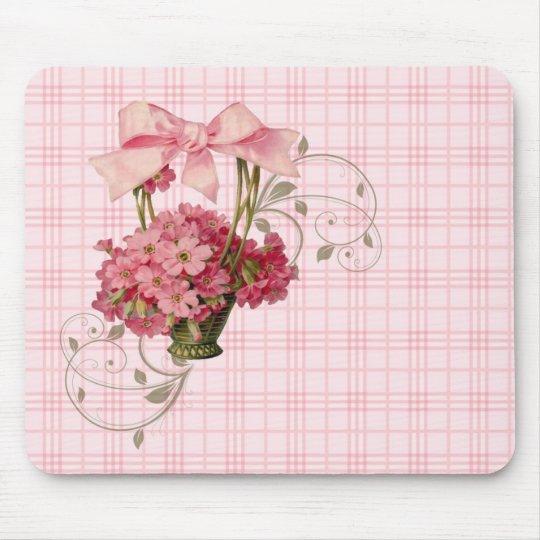 Pink Vintage Forget-Me-Not Basket ~Big Pink Bow Mouse Pad