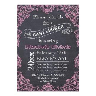 Pink vintage frame and chalkboard baby shower card