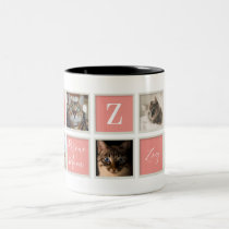 Pink Vintage Frame Cat Mom Monogram and Photo Two-Tone Coffee Mug