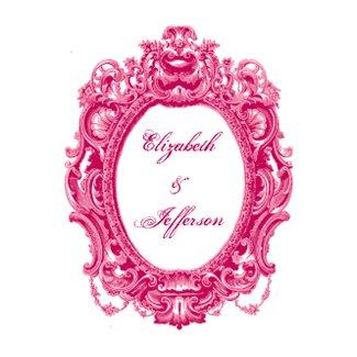Pink Vintage Frame Wedding Invitations invitation