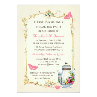 Pink Vintage French Bridal Tea Party 5x7 Paper Invitation Card