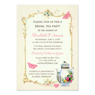"Pink Vintage French Bridal Tea Party 5"" X 7"" Invitation Card"