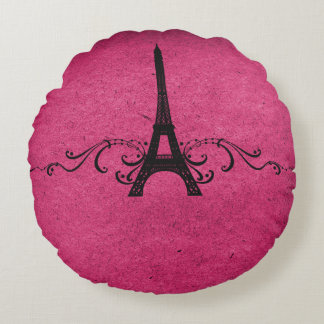 Pink Vintage French Flourish Round Pillow